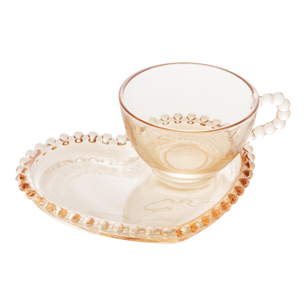 Xícara 180ml para chá de cristal âmbar coração com prato Pearl Wolff - 28404
