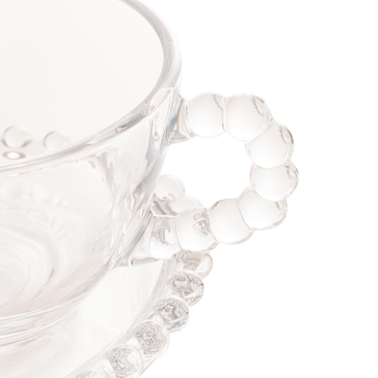 Xícara 180ml para chá de cristal coração com prato Pearl Wolff - 28382