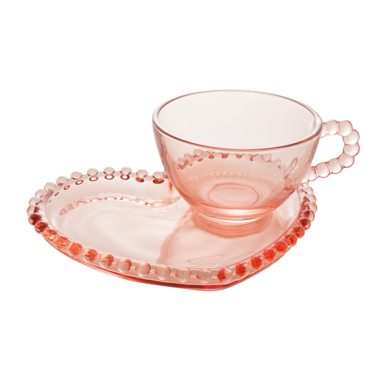 Xícara 180ml para chá de cristal rosa coração com prato Pearl Wolff - 28462