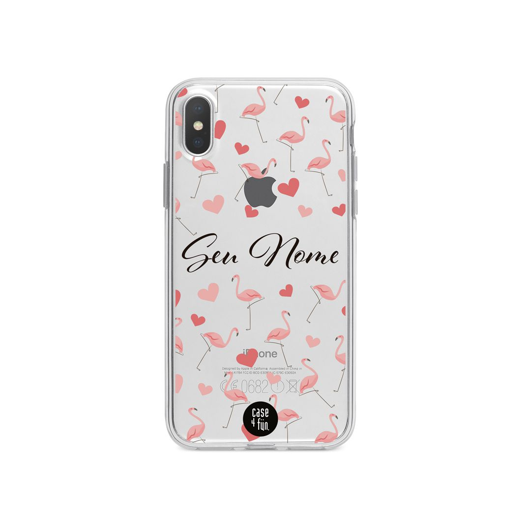 Case Flamingos in Love - Personalizável
