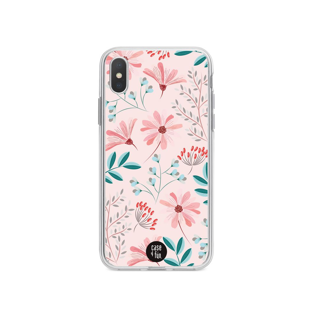 Case Floral Delicado com Fundo Rosa