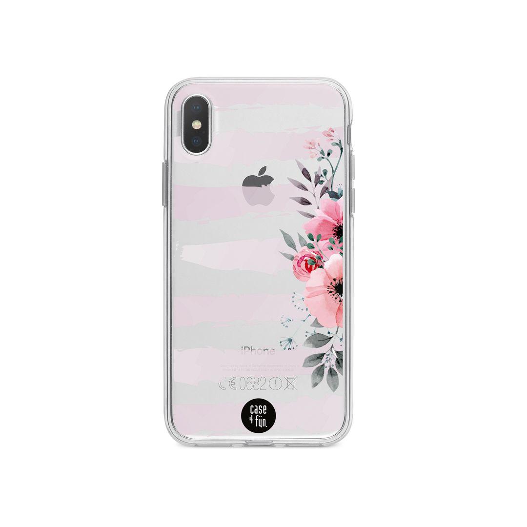 Case Floral Listrado Rosa