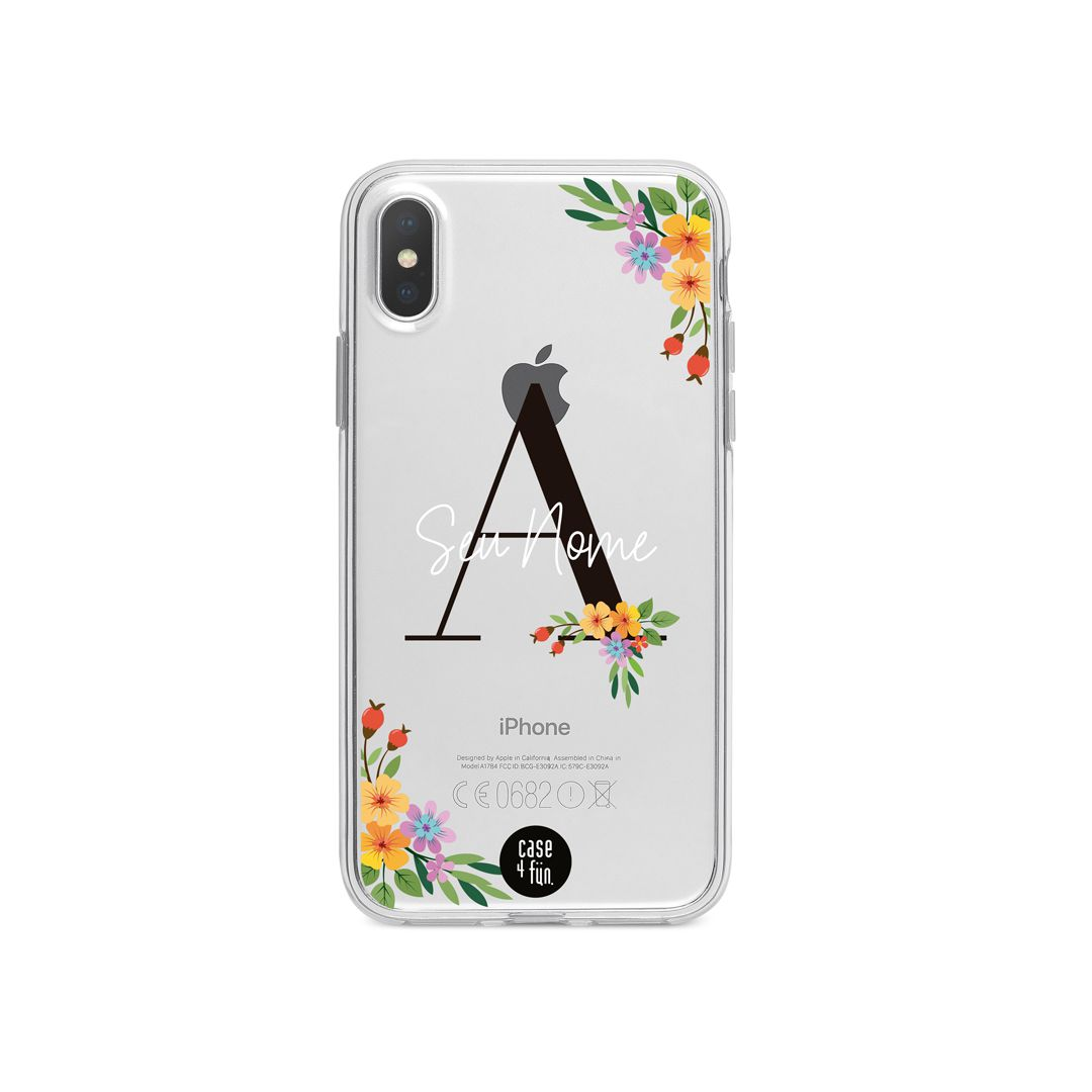Case Monograma Colorful Flowers