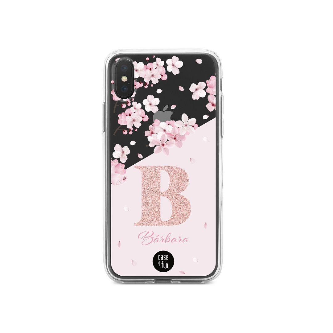 Case Monograma Floral com Glitter