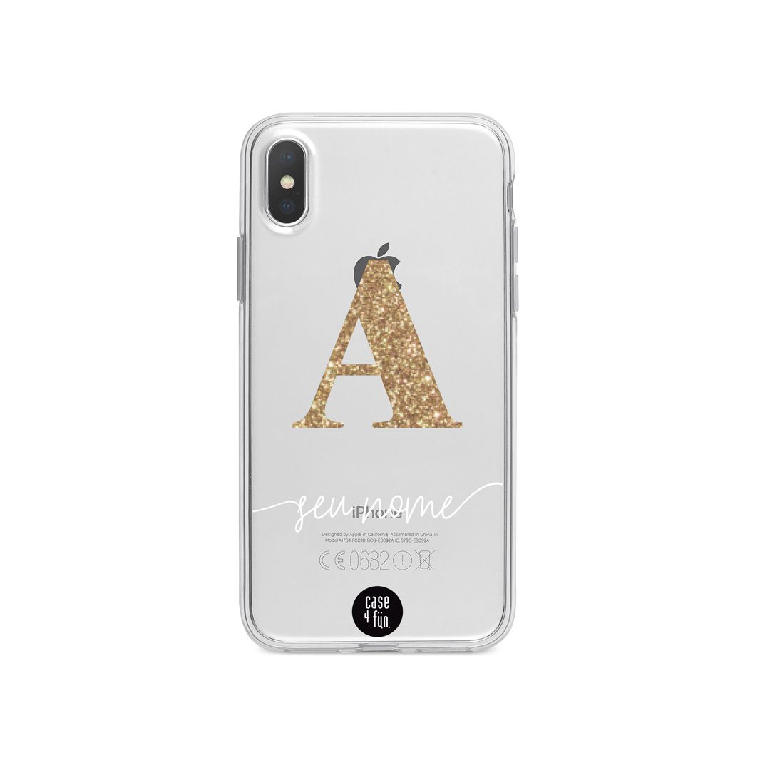 Case Monograma Glitter - Dourado