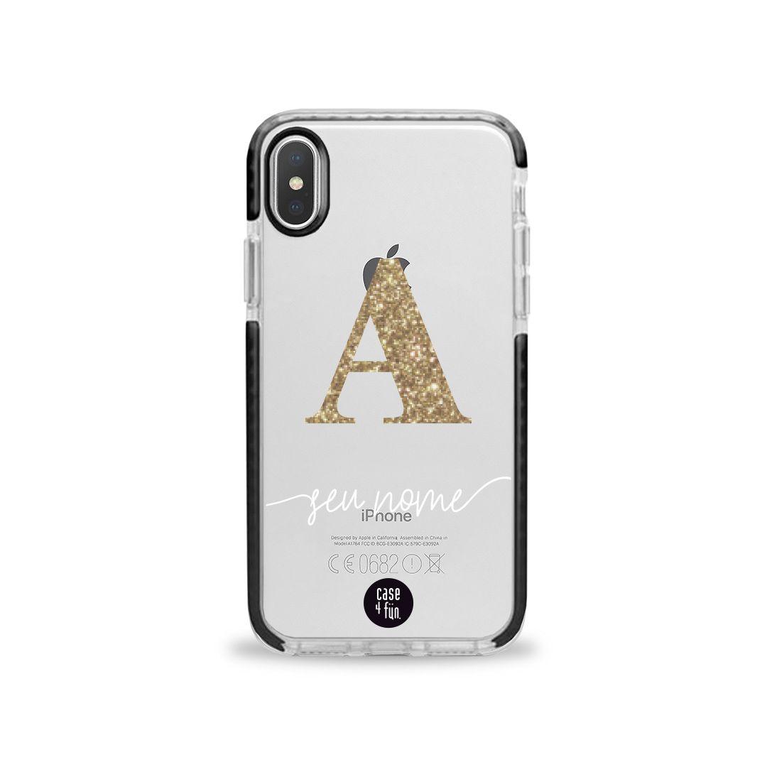 Case Monograma Glitter Dourado - Proteção Extra Preta