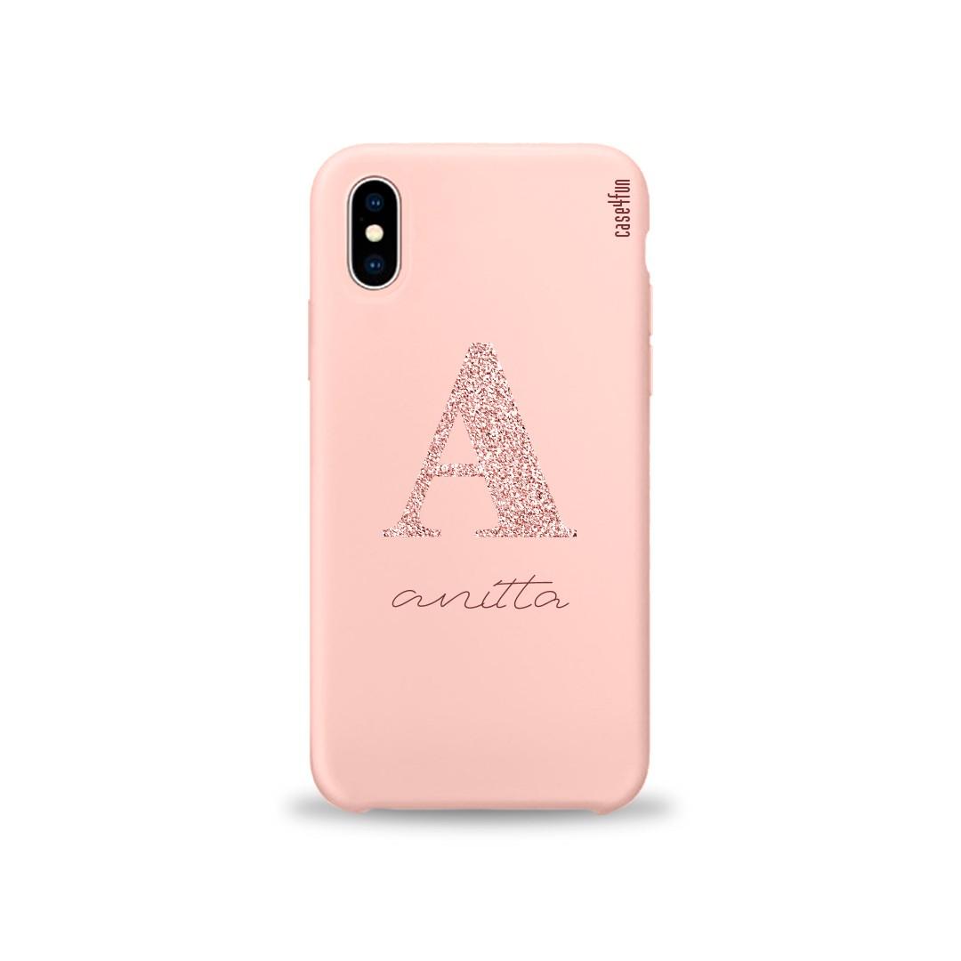Case Candy com Monograma Glitter Rosa - Aveludada