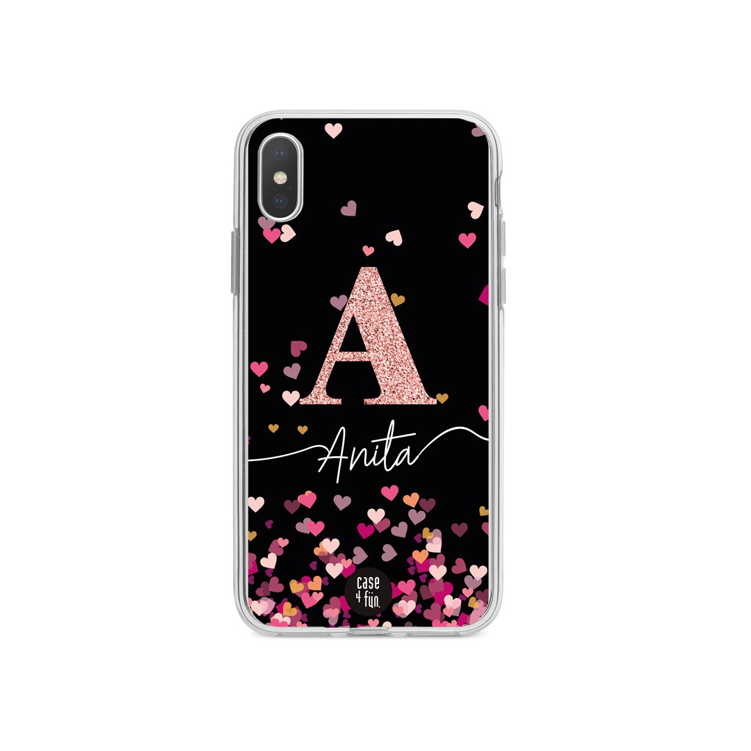 Case Monograma Glitter Hearts Black