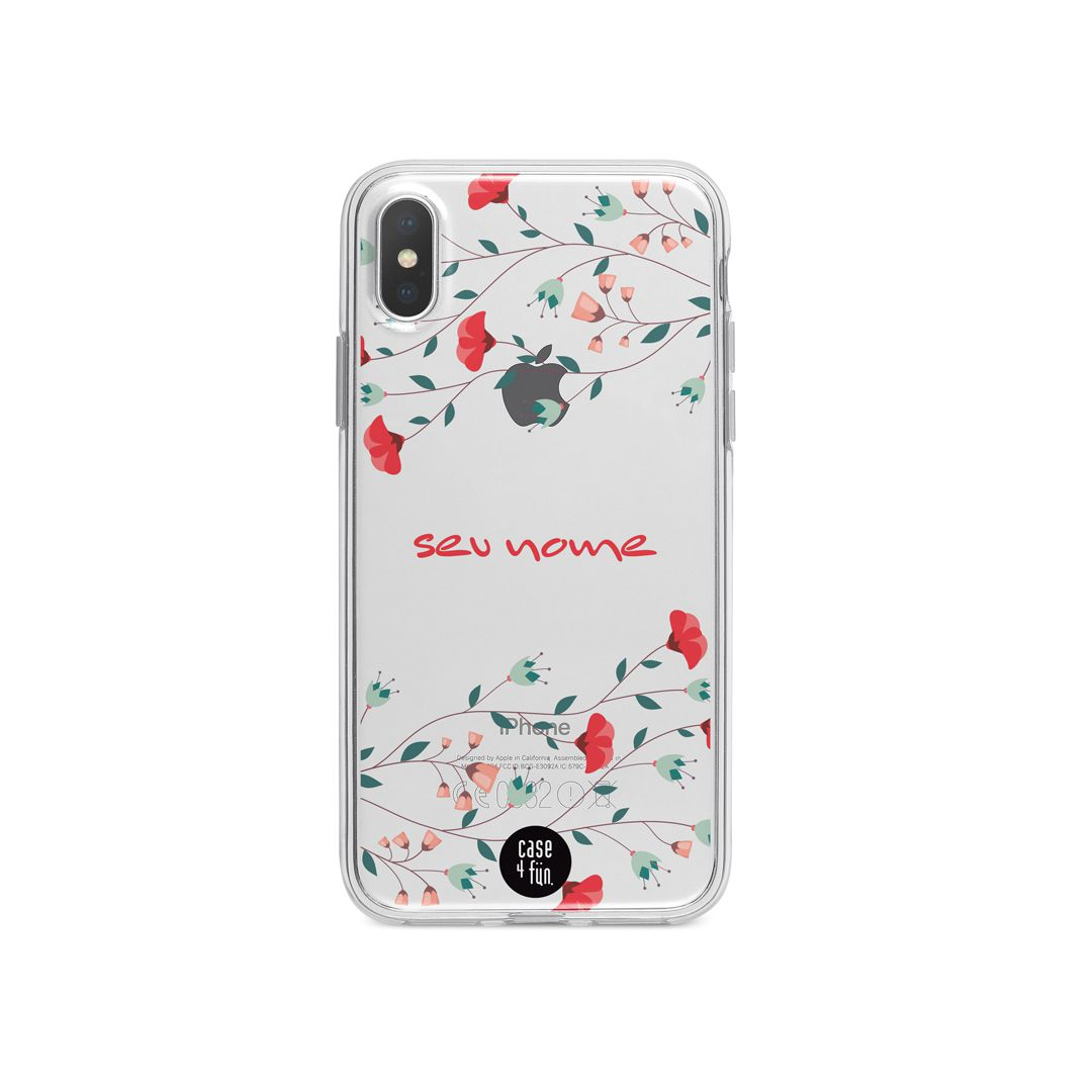 Case Red Flowers