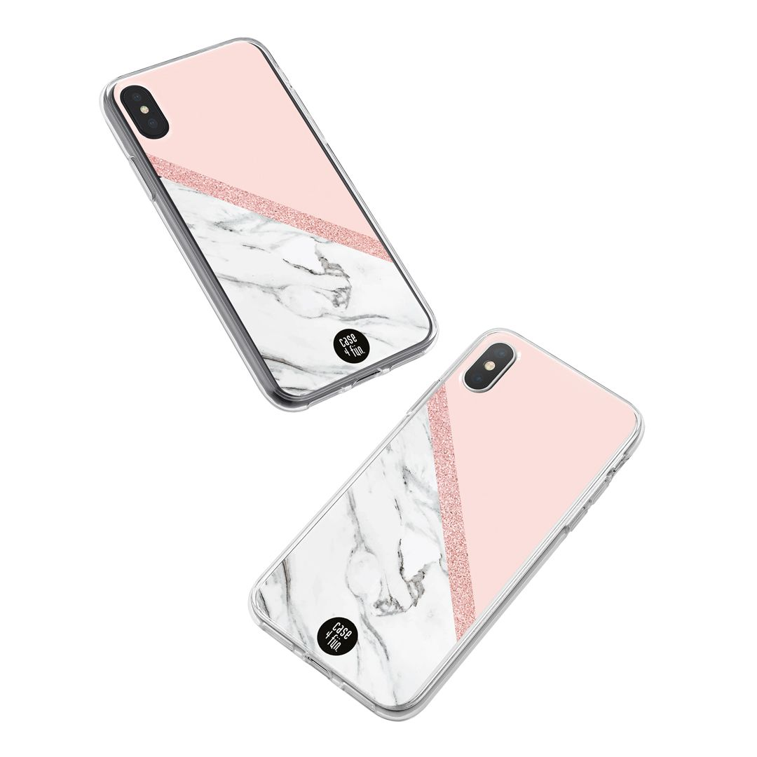 Case White Marble com Rose