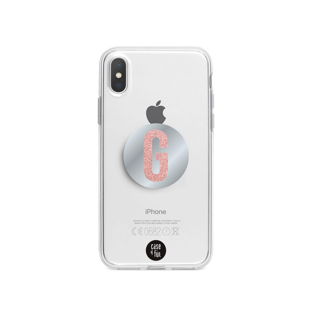Kit Case Básica + Suporte Pop Espelhado com Inicial em Glitter