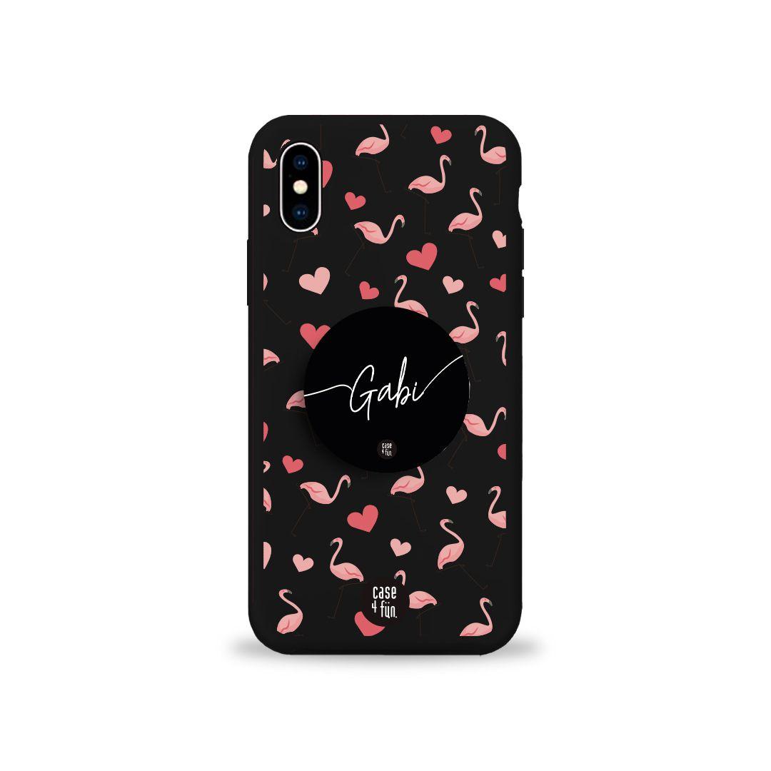 Kit Case Black Flamingos in Love + Suporte Pop Preto Básico com Nome