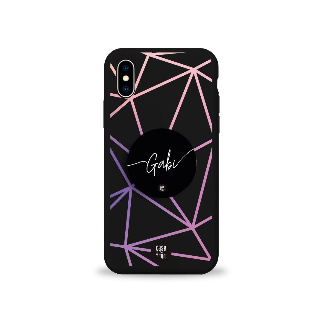 Kit Case Black Geometric Lines + Suporte Pop Preto Básico com Nome
