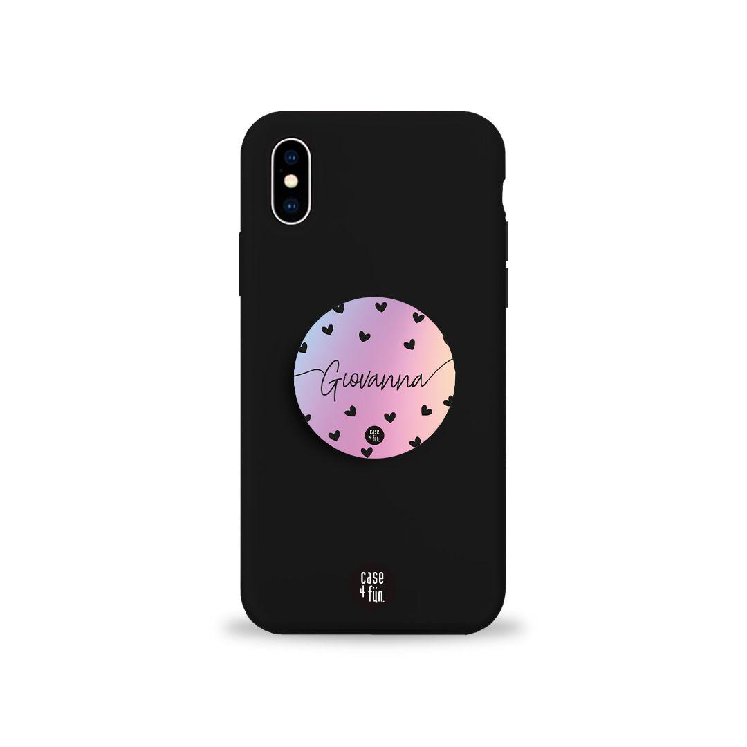 Kit Case Black + Suporte Pop Black Hearts Rainbow com Nome