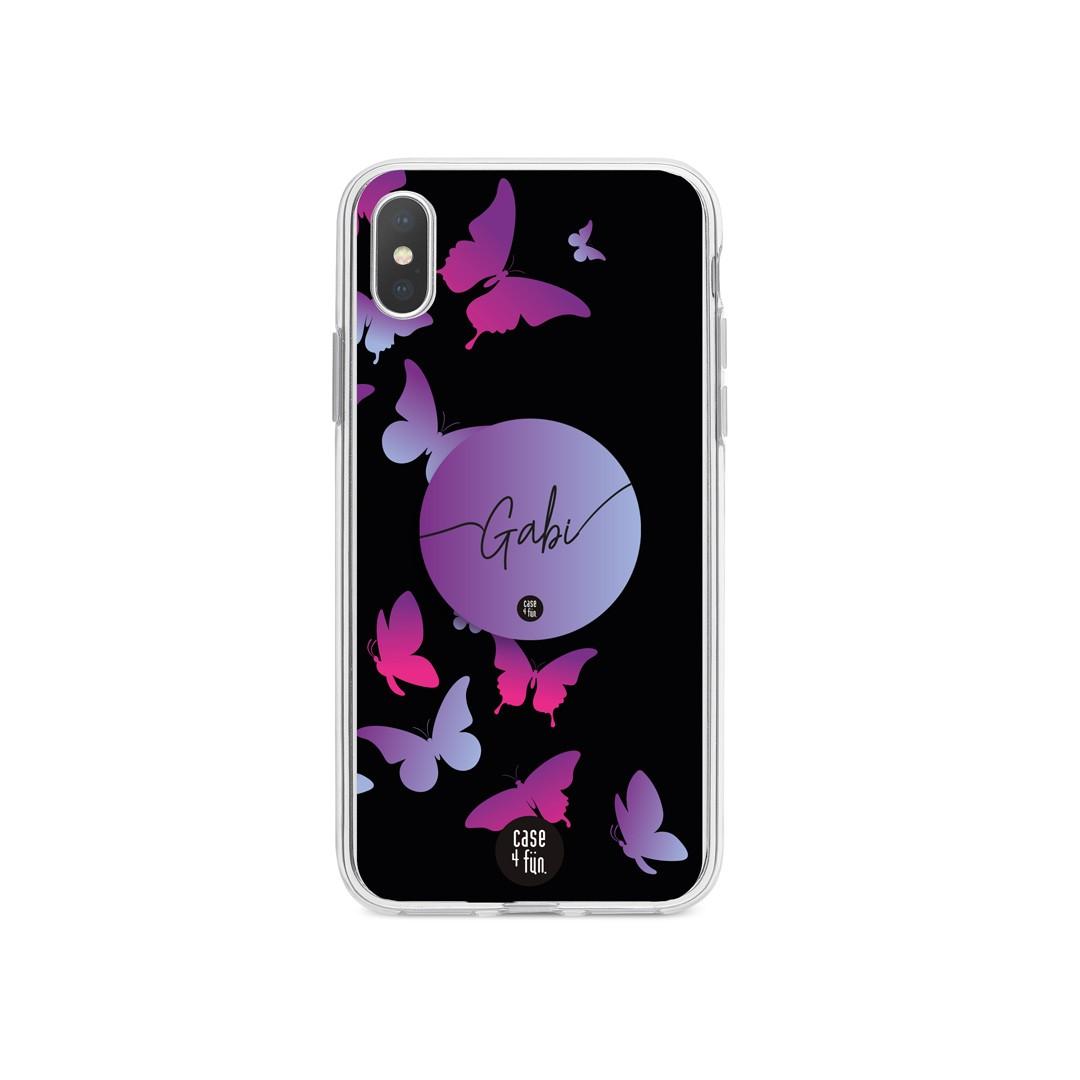 Kit Case Butterflies Silhouettes + Suporte Pop com Nome