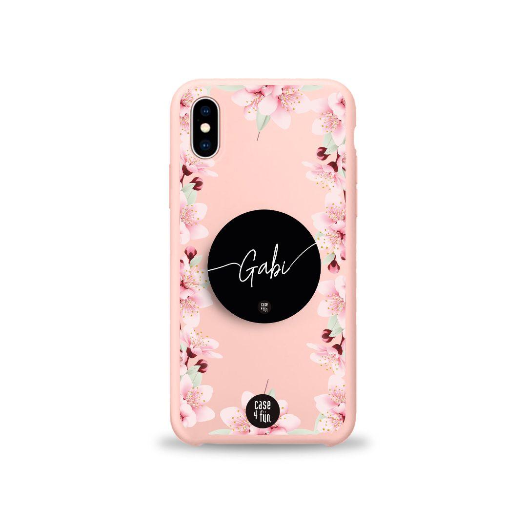 Kit Case Candy Side Floral + Suporte Pop Preto Básico com Nome