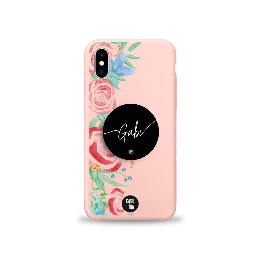 Kit Case Candy Watercolor Floral + Suporte Pop Preto Básico com Nome