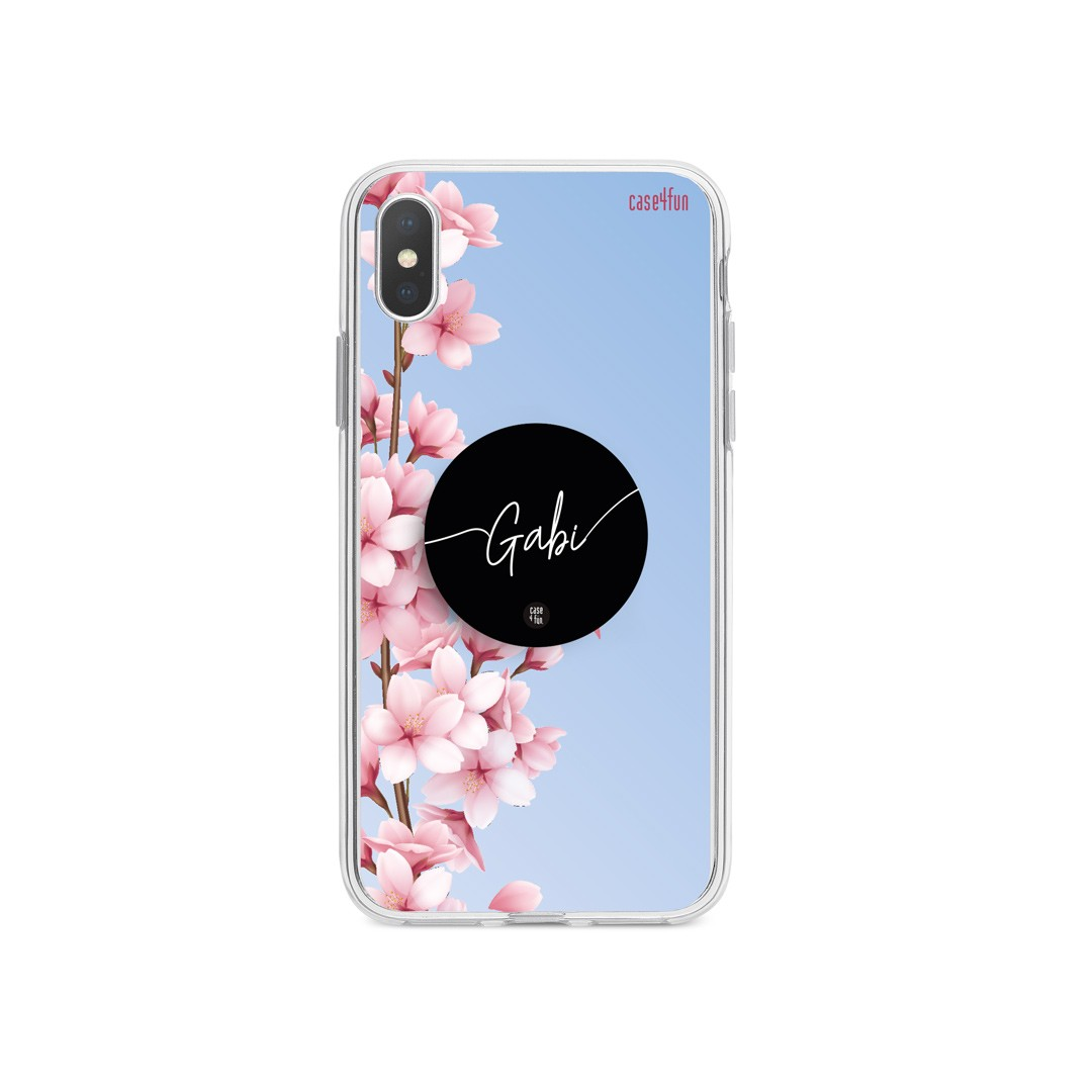 Kit Case Cherry Blossom and Sky + Suporte Pop Preto com Nome