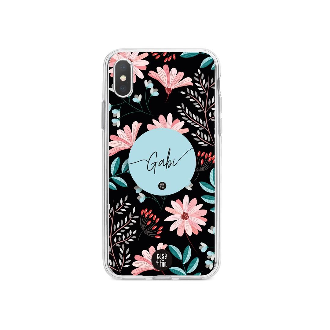 Kit Case Floral Delicado com Fundo Preto + Suporte Pop Azul com Nome
