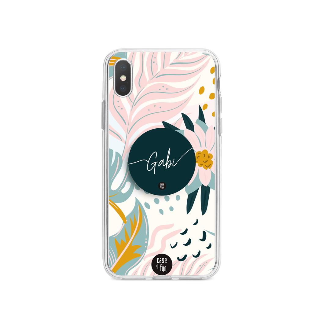 Kit Case Floral Exótico + Suporte Pop com Nome
