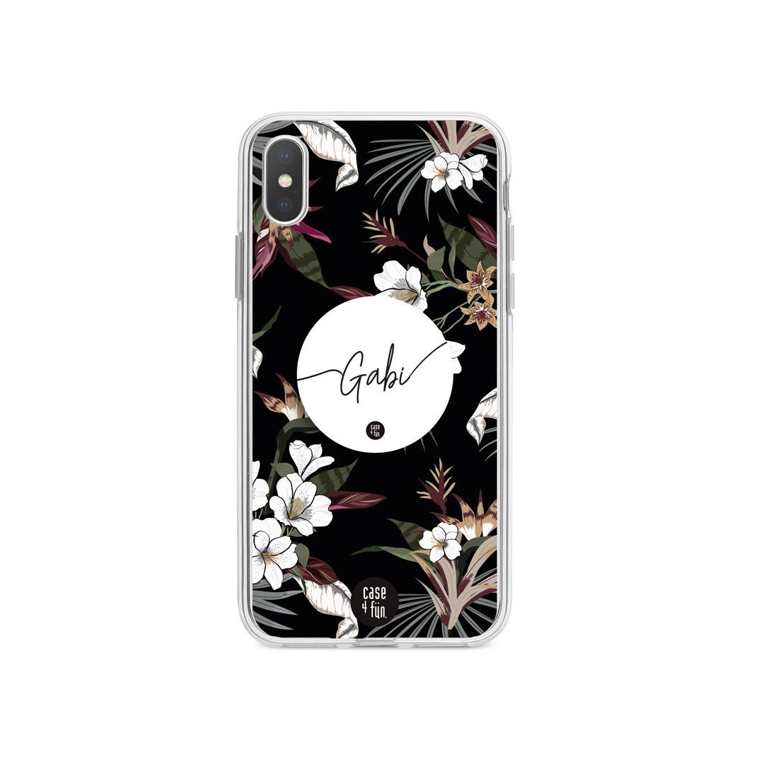 Kit Case Flores Brancas + Suporte Pop Branco com Nome