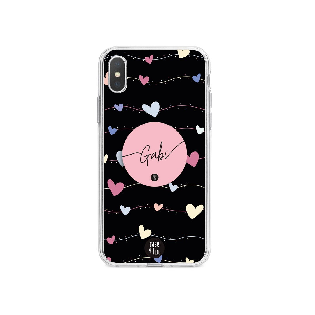 Kit Case Line of Hearts + Suporte Pop Rosa com Nome