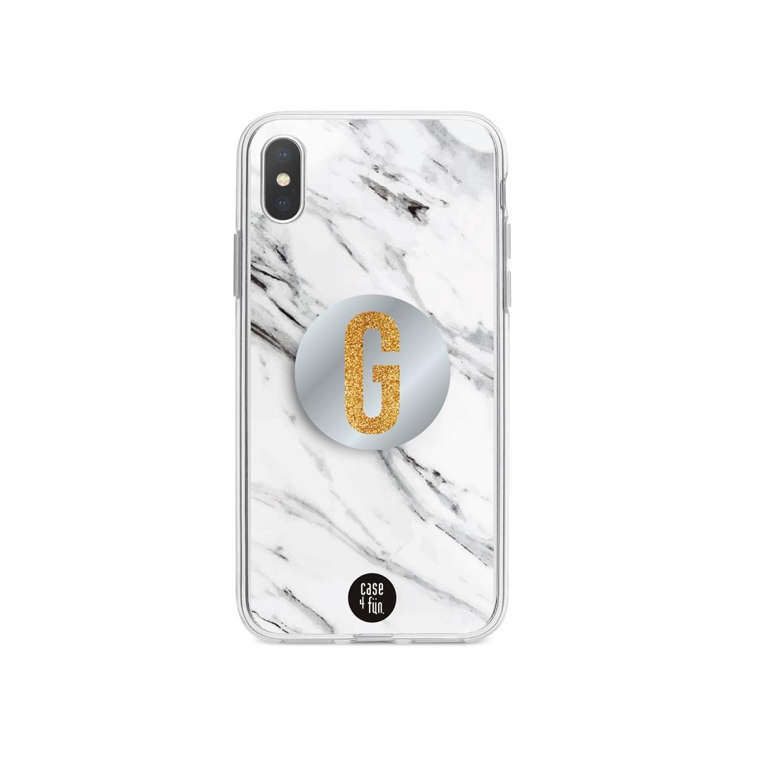 Kit Case Mármore Branco + Suporte Pop Espelhado com Inicial em Glitter Dourado
