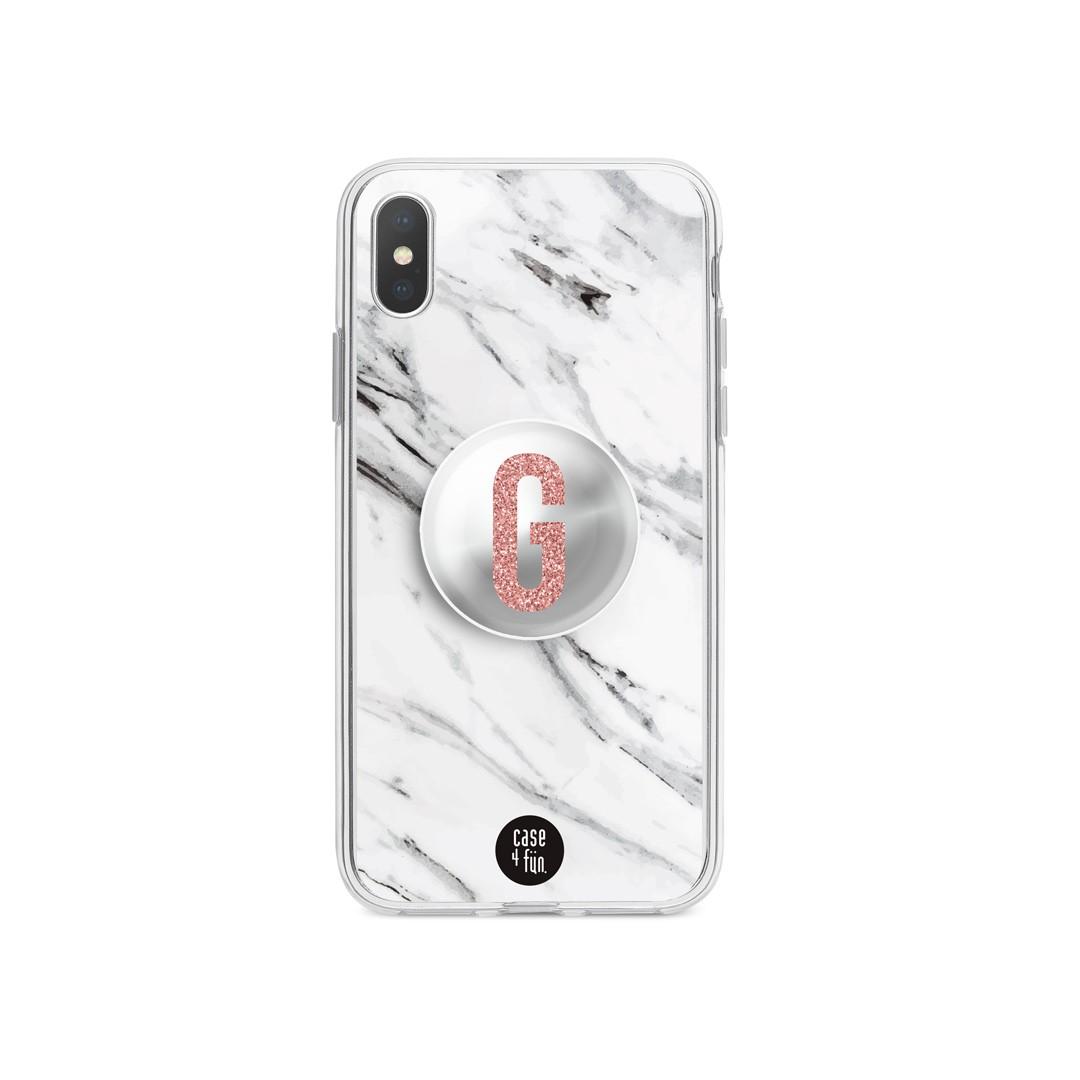 Kit Case Mármore Branco + Suporte Pop Espelhado com Inicial em Glitter Rosa