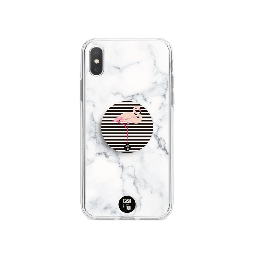 Kit Case Mármore Branco + Suporte Pop Flamingo