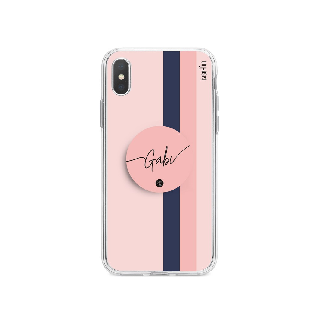 Kit Case Nickname in Lines + Suporte Pop Rosa com Nome
