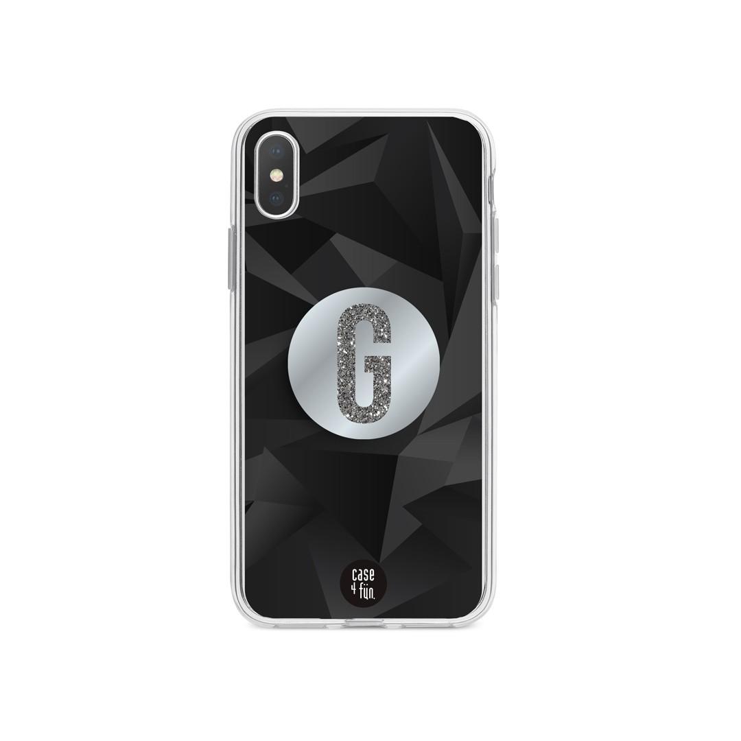 Kit Case Poligonal Black + Suporte Pop Espelhado com Inicial em Glitter