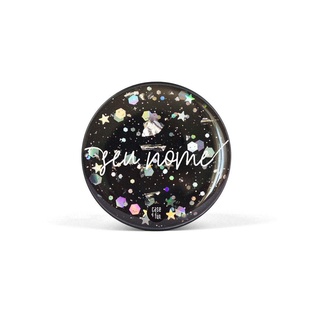 Suporte Pop Glitter Preto Flocado - Básica com Nome