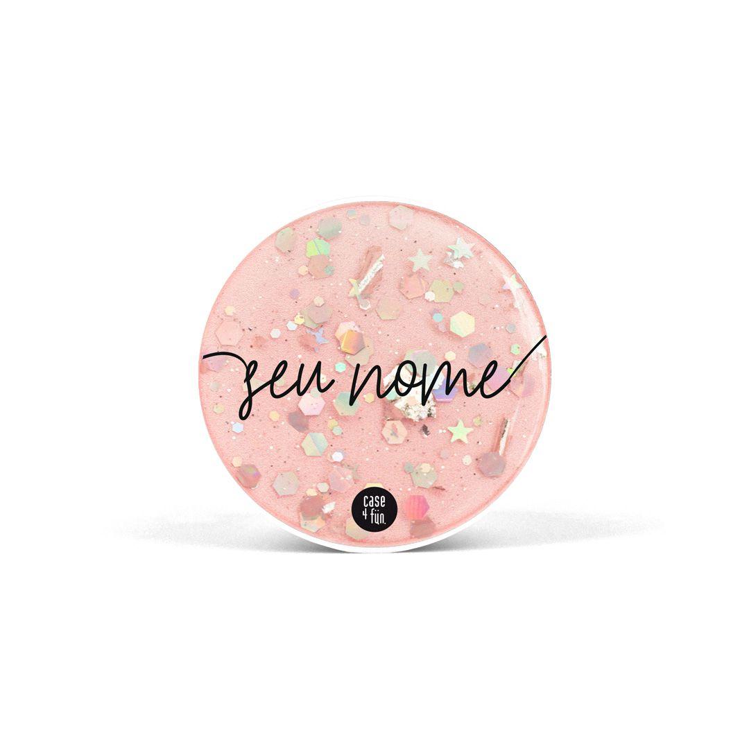 Suporte Pop Glitter Rosa Flocado - Básica com Nome