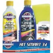 Kit Smart 3X1  - ( Lava Auto C/ Cera / Pneu Pretinho / Silicone Bucas Gel / Esponja ) Rodabrill