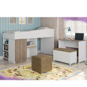 Cama Smart Office Alana com Escrivaninha Embutida + Baú + Puff - Phoenix Baby