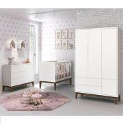 Dormitório Classic Retrô Com Guarda Roupa + Cômoda + Berço Mini Cama - Branco Fosco - Reller