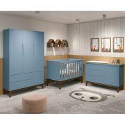 Dormitório Classic Retrô Com Guarda Roupa + Cômoda + Berço Mini Cama - Azul Fosco - Reller