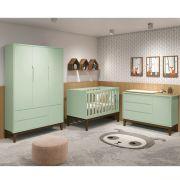 Dormitório Classic Retrô Com Guarda Roupa + Cômoda + Berço Mini Cama - Verde Fosco - Reller