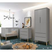 Dormitório Théo Retrô Com Guarda Roupa 2 Portas + Cômoda + Berço - Cinza Fosco