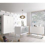 Dormitório Théo Retrô Com Guarda Roupa + Cômoda + Berço - Branco Fosco