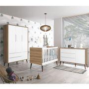 Dormitório Théo Retrô Com Guarda Roupa + Cômoda + Berço - Branco Fosco/Mezzo Fosco - Reller