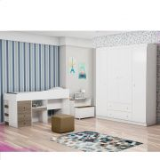 Guarda Roupa 4 Portas Helena + Cama Smart Alana Office - Phoenix Baby