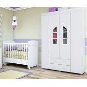 Guarda Roupa 4 Portas Isabele E Berço Mini Cama 230 - Phoenix Baby