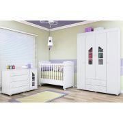 Jogo De Quarto Guarda Roupa 4 Portas + Cômoda Isabele E Berço Mini Cama 230 - Phoenix Baby