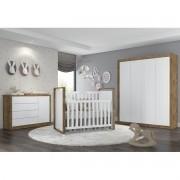 Quarto para Bebê com Guarda Roupa 4 Portas Sistema de Toque + Cômoda + Berço Mini Cama Tutto Matic