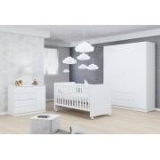 Jogo de Quarto para Bebê Helena com Guarda Roupa 4 Portas + Cômoda + Berço Mini Cama 100 - Phoenix Baby