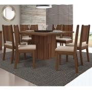 Jogo de Sala de Jantar com Mesa Armonia + Tampo Giratório + 8 Cadeiras Romana - DJ Móveis