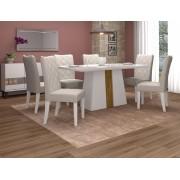 Jogo de Sala de Jantar com Mesa Itália de Tampo em Madeira Chanfrado com Vidro  + 6 Cadeiras Golden - DJ Móveis