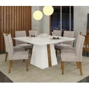 Mesa De Jantar Itália com Tampo de Madeira Chanfrado com Vidro + 8 Cadeiras Golden DJ Móveis