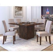 Mesa De Jantar Vince + 8 Cadeiras Olímpia Malbec  com Linho Claro - Dj Móveis